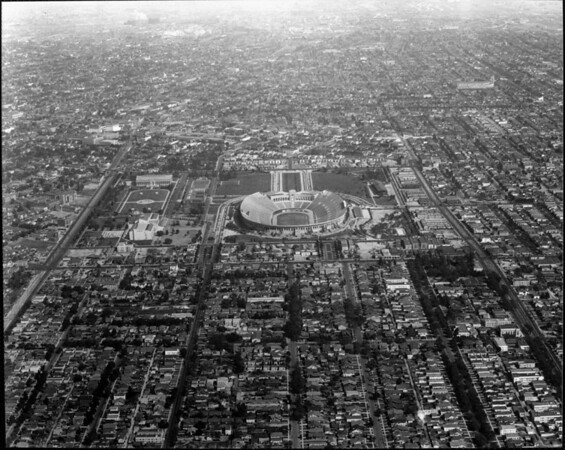 An aerial view of the Coliseum, looking east