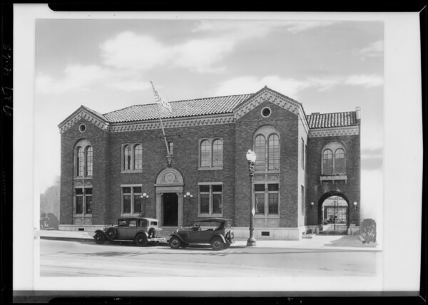 Copy of retouched photo of Wilshire police station - 4526 West Pico Boulevard, Los Angeles, CA, 1929