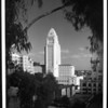 A view of City Hall and other buildings in downtown Los Angeles