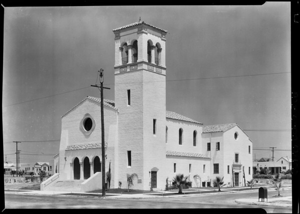 Rev. Theodore Smith & church at West 54th Street & South Mullen Avenue, View Park, CA, 1928