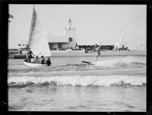 Sports at Lido Isle, riding horses, etc., Newport Beach, CA, 1928