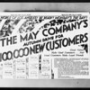 Newspaper for 100,000 new customers, The May Company, Southern California, 1931
