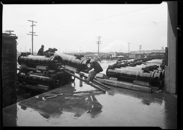 Shipment of gas separators to South America, Los Angeles, CA, 1930