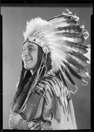"Indian chief, Chickasaw Indian, ""William Harrison of Mission Play"", Southern California, 1930"