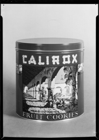 Can of Calirox cookies, Southern California, 1931