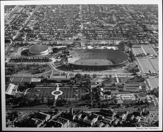 An aerial view looking south over the Coliseum