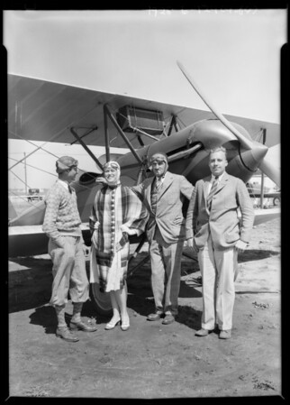 Return of Case & Peggy Hamilton by air from Lido Isle, Southern California, 1928