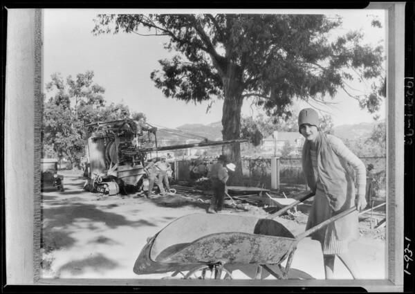 Composite of girl with wheelbarrow, Southern California, 1927