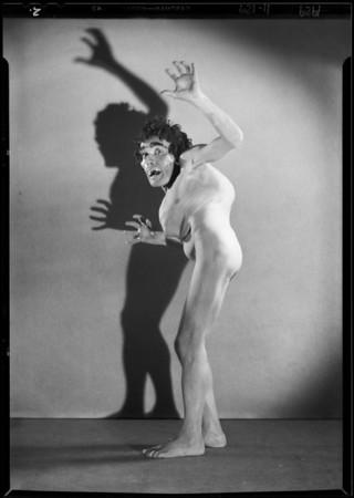 Man in grotesque makeup, Southern California, 1929