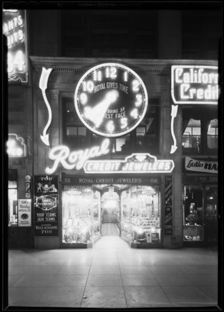New exterior of store, Royal Credit Jewelers, 708 South Hill Street, Los Angeles, CA, 1930