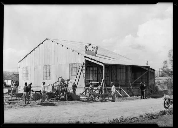 Canning plant and grain mixer, Runnymede, Southern California, 1930