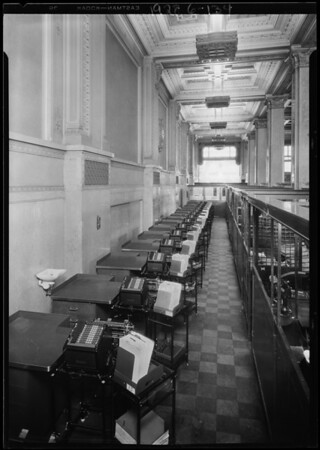 Burroughs adding machines in First National Bank, Southern California, 1928