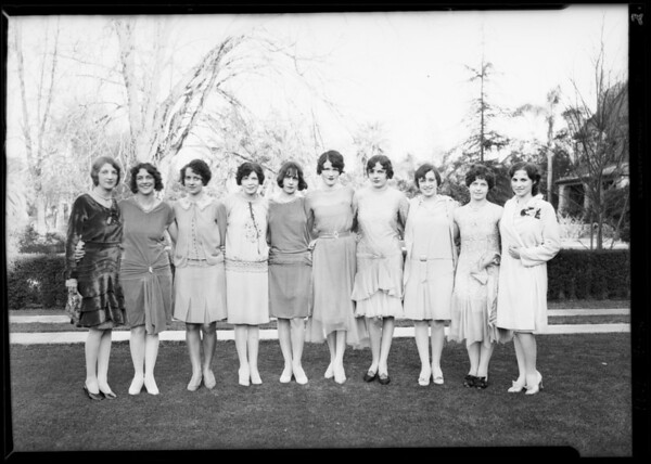 Sorority groups at 818 West Adams Boulevard, Los Angeles, CA, 1929