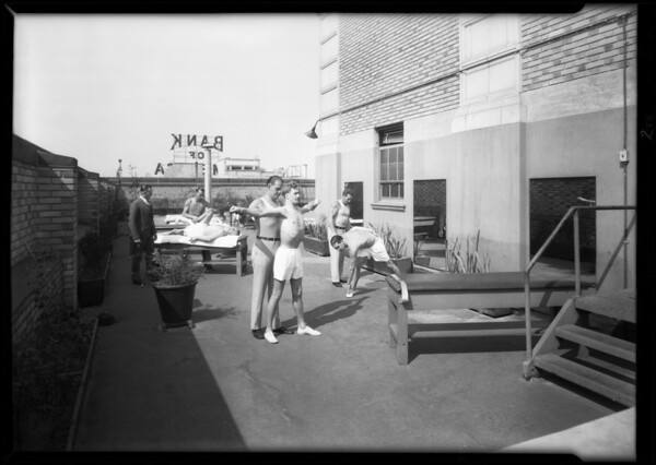 Men on roof, Roosevelt Building, 727 West 7th Street, Los Angeles, CA, 1931