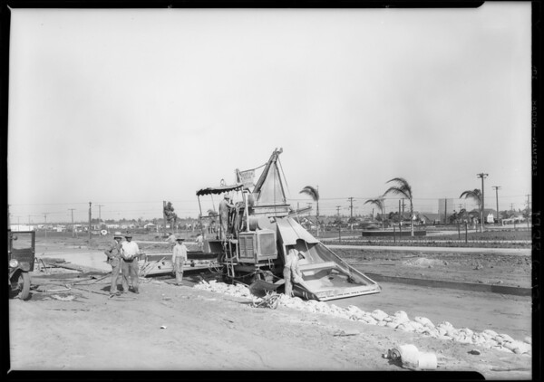 Cement machine at plaza, Southern California, 1928