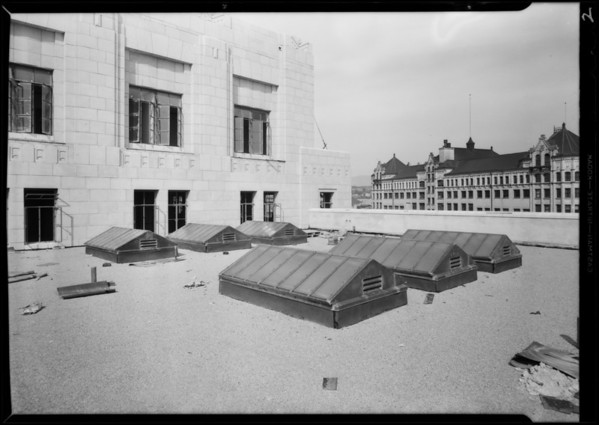 State Building, mason work and exterior of sky lights on roof, Los Angeles, CA, 1931