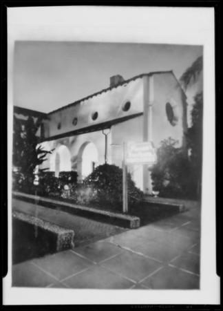 Night exterior, Pierce Bros., Southern California, 1930
