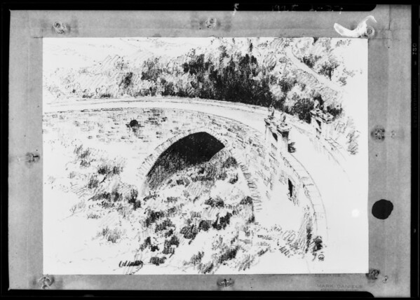 Copy of bridge pencil drawing, California Botanic garden, Southern California, 1928