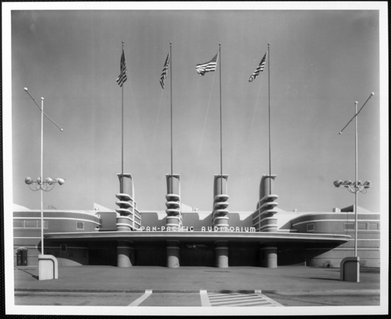 The main entrance of the Pan-Pacific Auditorium