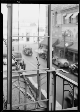 Fire escape, Hollywood center building, Southern California, 1931