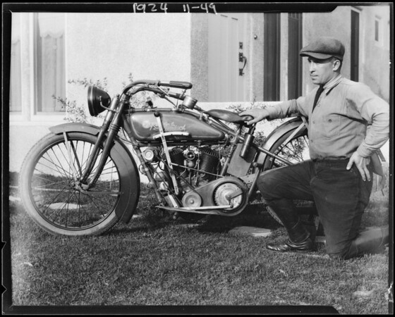 Motorcycle & Mr. Gerber, Southern California, 1924