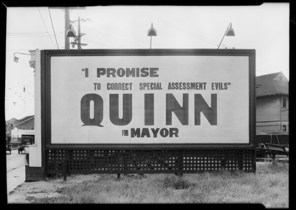 Signboards at East Washington Boulevard and Maple Avenue, Los Angeles, CA, 1929