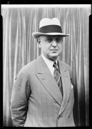 Mayor Porter with new spring hat, Southern California, 1930