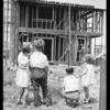 Kids building house at Leimert Park, Los Angeles, CA, 1929