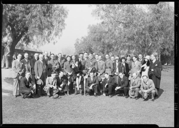 Breakfast club, Priscilla and Sean at fountain, Southern California, 1929