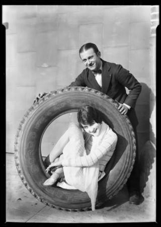Georgia Biazelle and tires, Ceazan Tire Co., 122 West Washington Street, El Segundo, CA, 1928