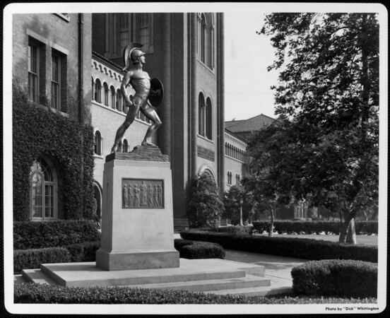 "The statue of ""Tommy Trojan"" in front of Bovard Auditorium at University of Southern California (USC)"