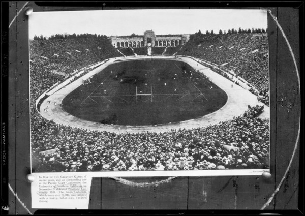 University of Southern California and Stanford captains, Coliseum crowd, Southern California, 1929
