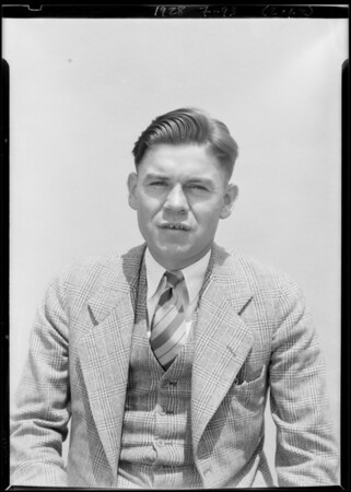 Close up of William T. Sheehan, Southern California, 1928