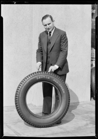 Mr. Price and new all speed tire, Southern California, 1931