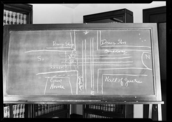 Blackboard, Perovich vs. Brown, Los Angeles, CA, 1931