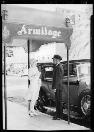 Billie Dove alighting from car, Los Angeles, CA, 1929