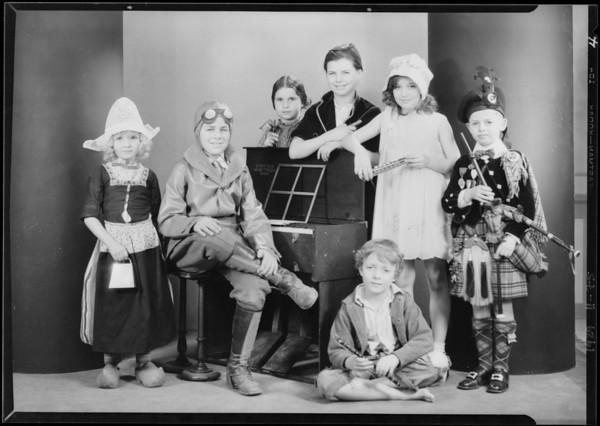 Mrs. M. Brandeis' kids in costumes of other countries, Southern California, 1929