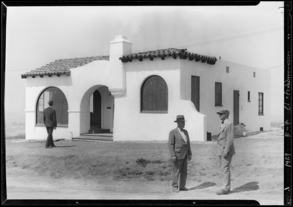 Model home & house at Overhill tract, Southern California, 1929