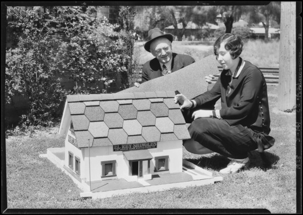 Model house showing shingles, Southern California, 1928