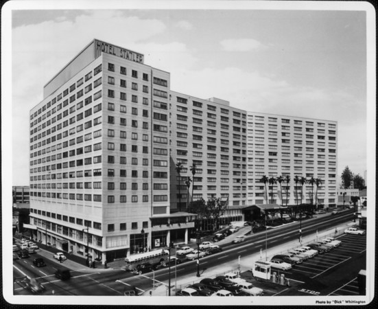 The Hotel Statler at the corner of Figueroa Street and Wilshire Boulevard
