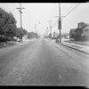 Auto and intersection in which boy was killed on bicycle, Highland Park, Los Angeles, CA, 1930
