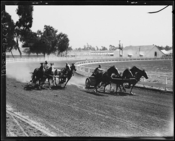 Chariot shots at fair grounds, Southern California, 1928
