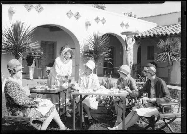 Serving tea at office on tract at Hollywood Riviera, Redondo Beach, CA, 1928
