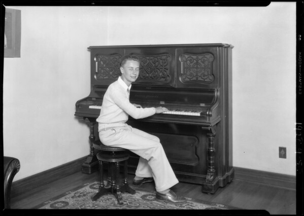 Piano player with Giroux's orchestra, Southern California, 1928