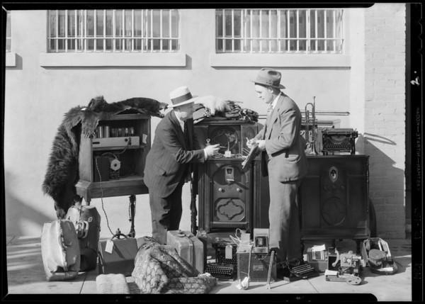 Stolen radios at police station, Southern California, 1929