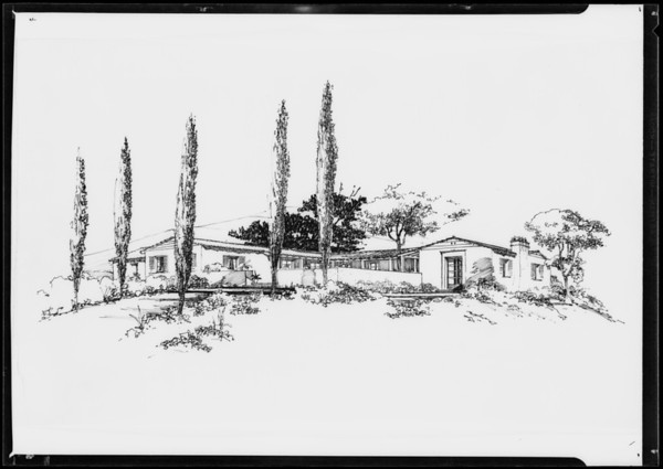 Sketch of house, Southern California, 1931