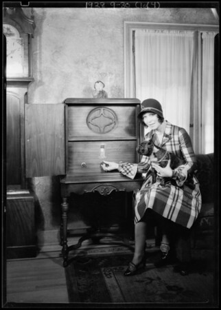 Ann Howe and radio with her manager Don Meany, Southern California, 1928