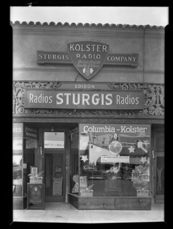 Crowd in front of Sturgis Radio store listening to World Series, Los Angeles, CA, 1929