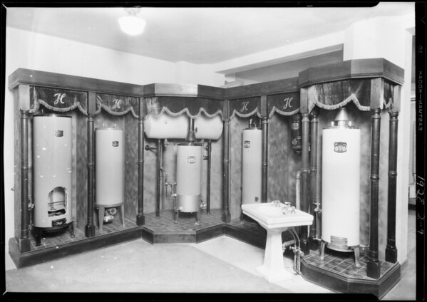 Booth in architects building, Southern California, 1928