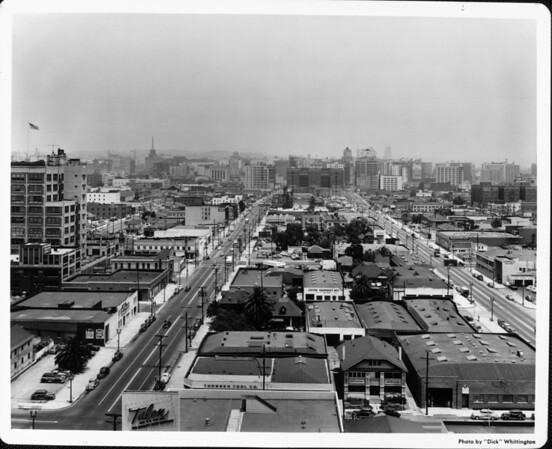 View looking north on Spring Street or Main Street from an industrial district toward downtown Los Angeles